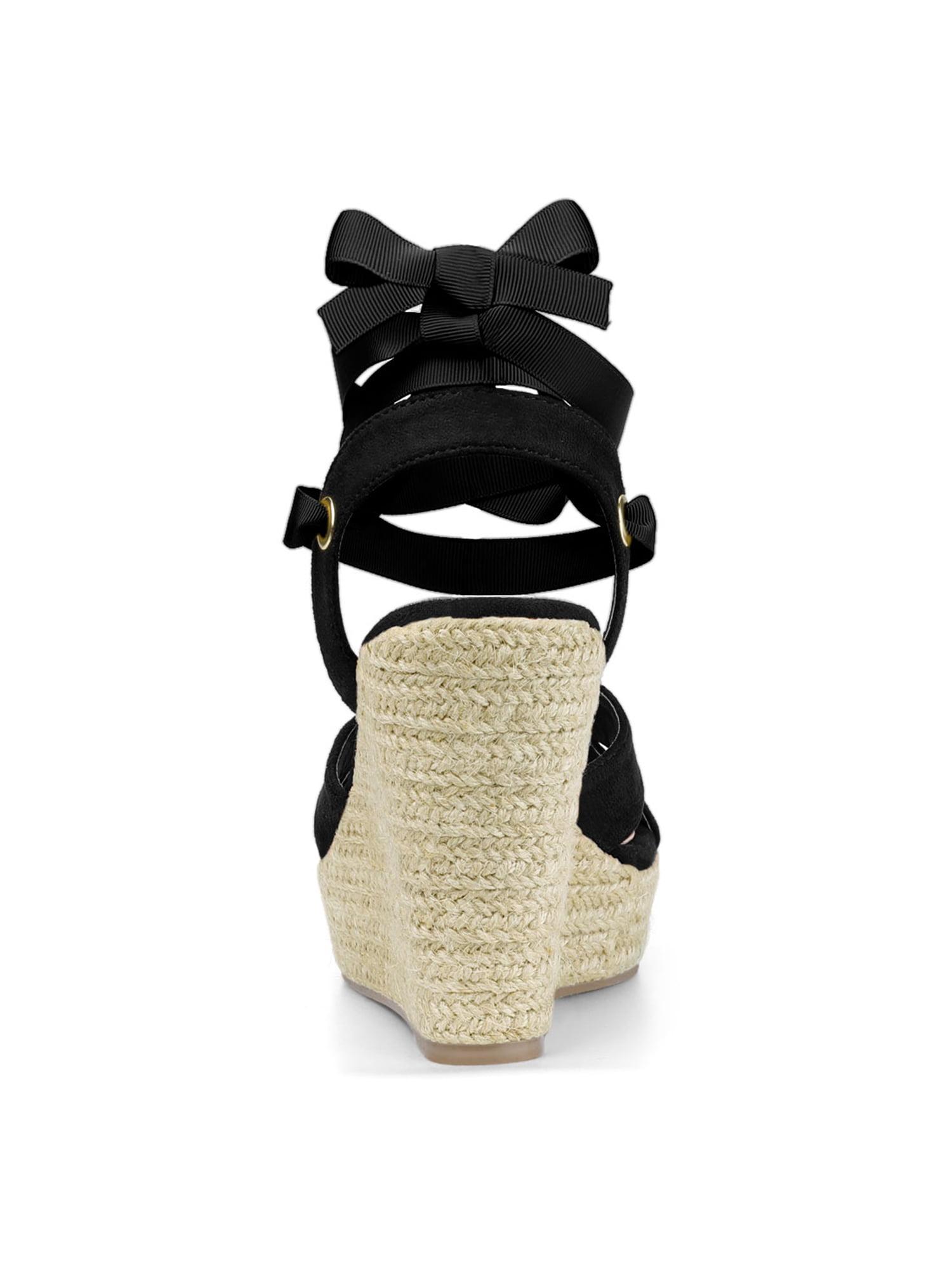 83c35a169516 Unique Bargains - Women s Espadrille Platform Lace Up Wedges Heel Sandals  Black (Size 8.5) - Walmart.com