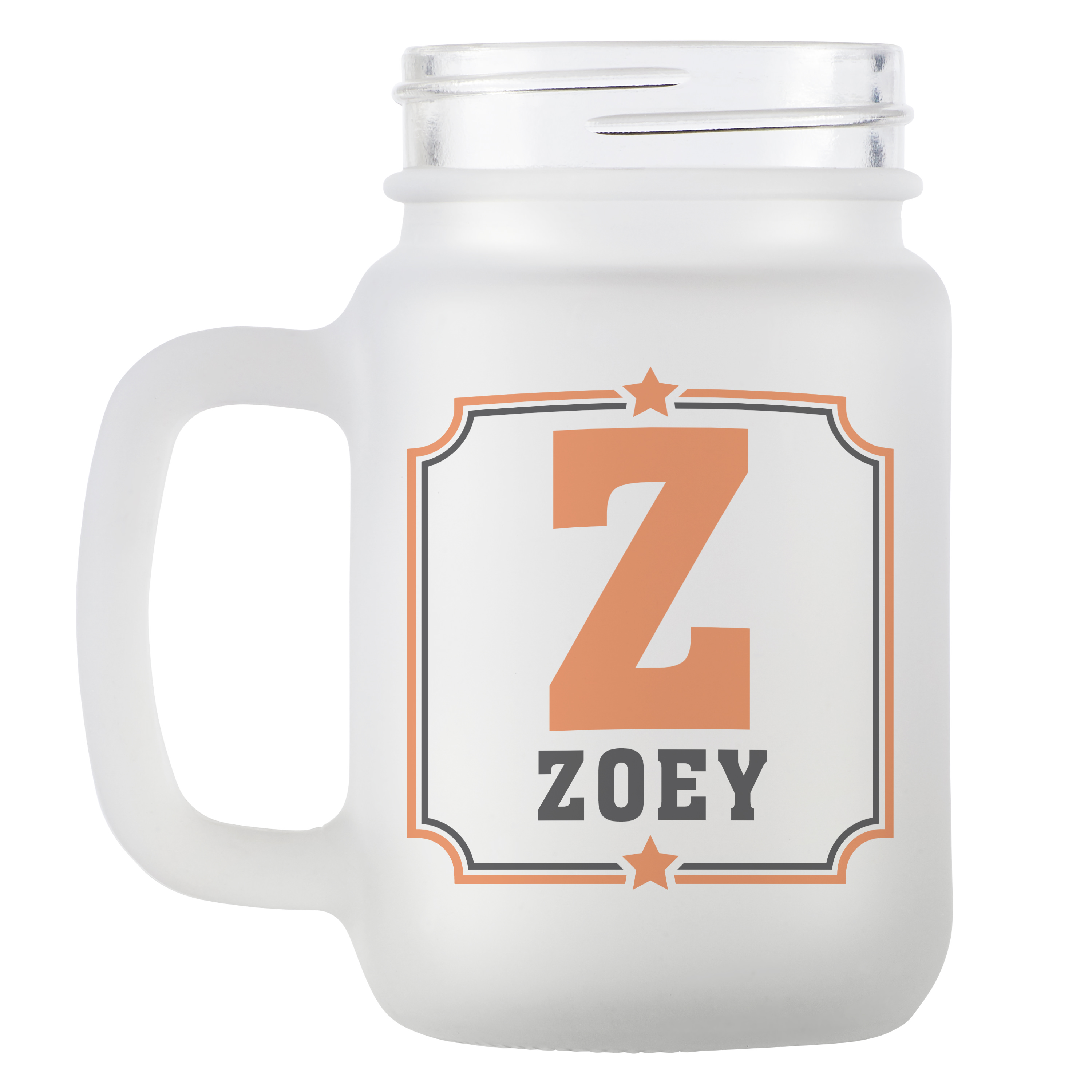 Personalized Any Name + Initial Frosted Mason Jar - Available in 8 Colors