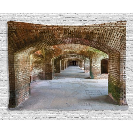 Breeze Tapestry - Apartment Decor Tapestry, Brick Arches at Dry Tortugas Old Fort Historic Heritage Tourist Vintage Deco, Wall Hanging for Bedroom Living Room Dorm Decor, 60W X 40L Inches, Bronze, by Ambesonne