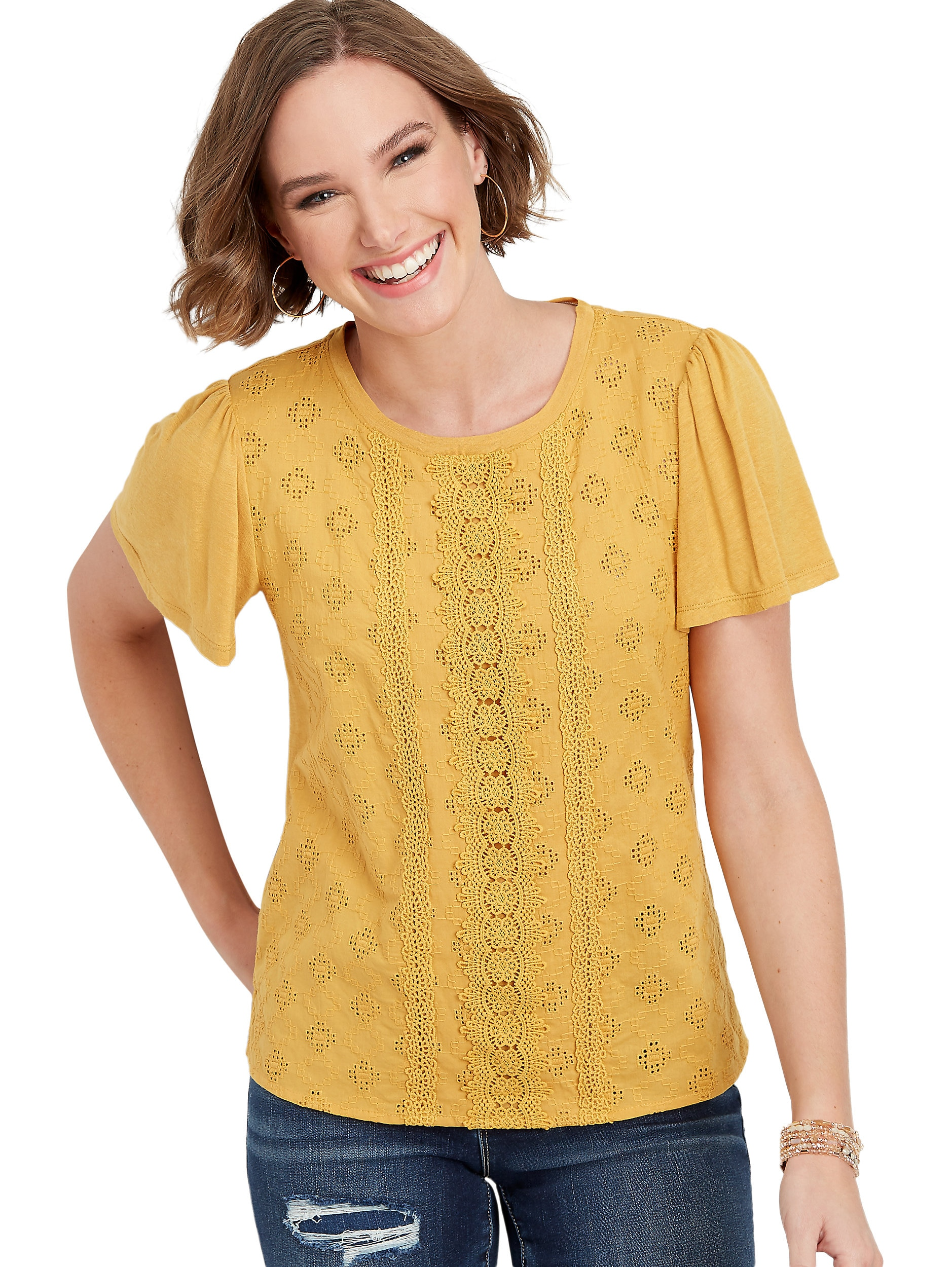 Maurices Women's Crocheted Front Tee - Solid Yellow
