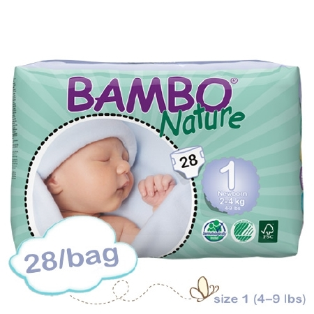Abena Baby Diaper Bambo® Nature Size 1 Disposable Heavy A...