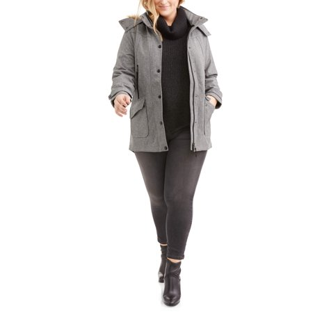 Women's Plus Size Yarn Dye Soft Shell Parka W/Ff Trim Hood