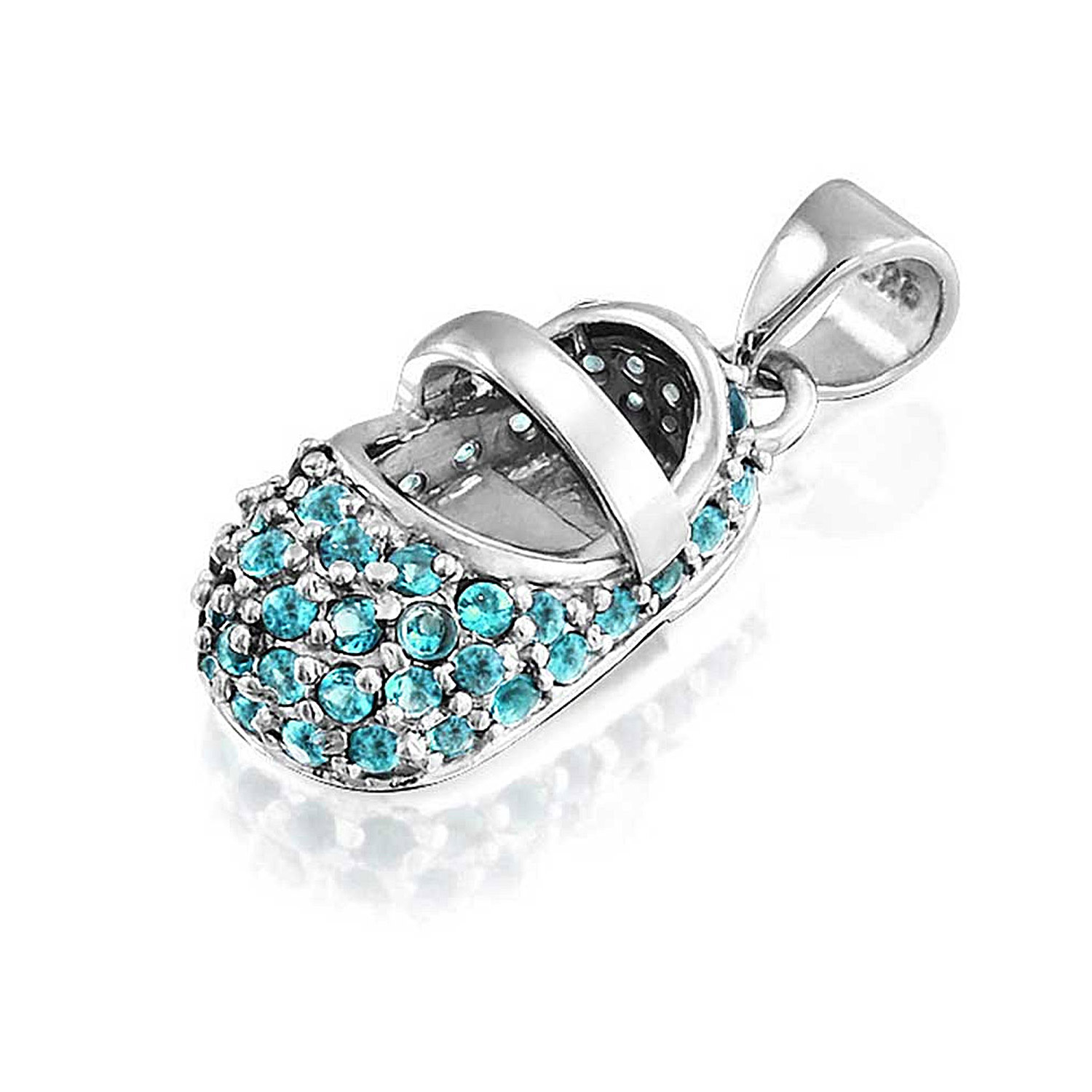 Simulated Aquamairne Baby Shoe Sterling Silver Pendant