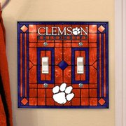 Clemson Tigers Art-Glass Double Switch Plate Cover