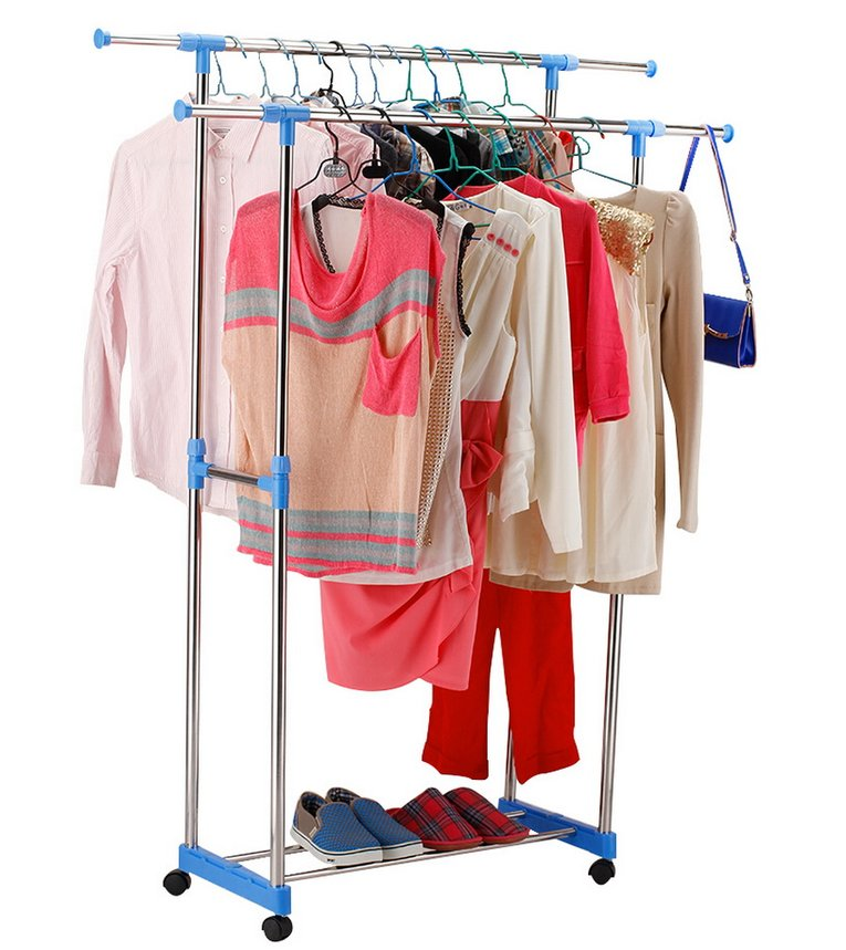 Clothes Stand Rack Double Bar Adjustable Garment Hanger Clothing Display blue