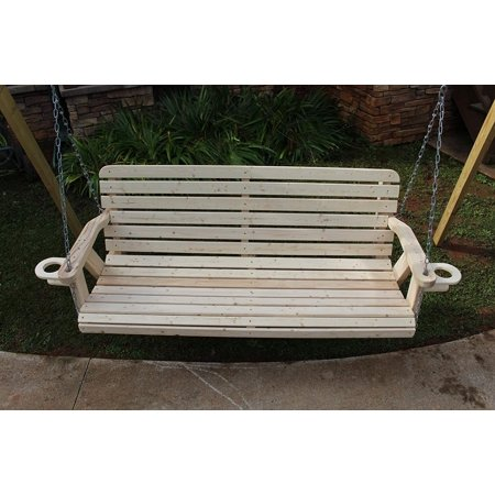 Home Garden Lawn Outdoor Backyard Patio 5 Ft Amish Pine Heavy Duty Porch Cup Holders Wide Slat Swing Made in USA ()