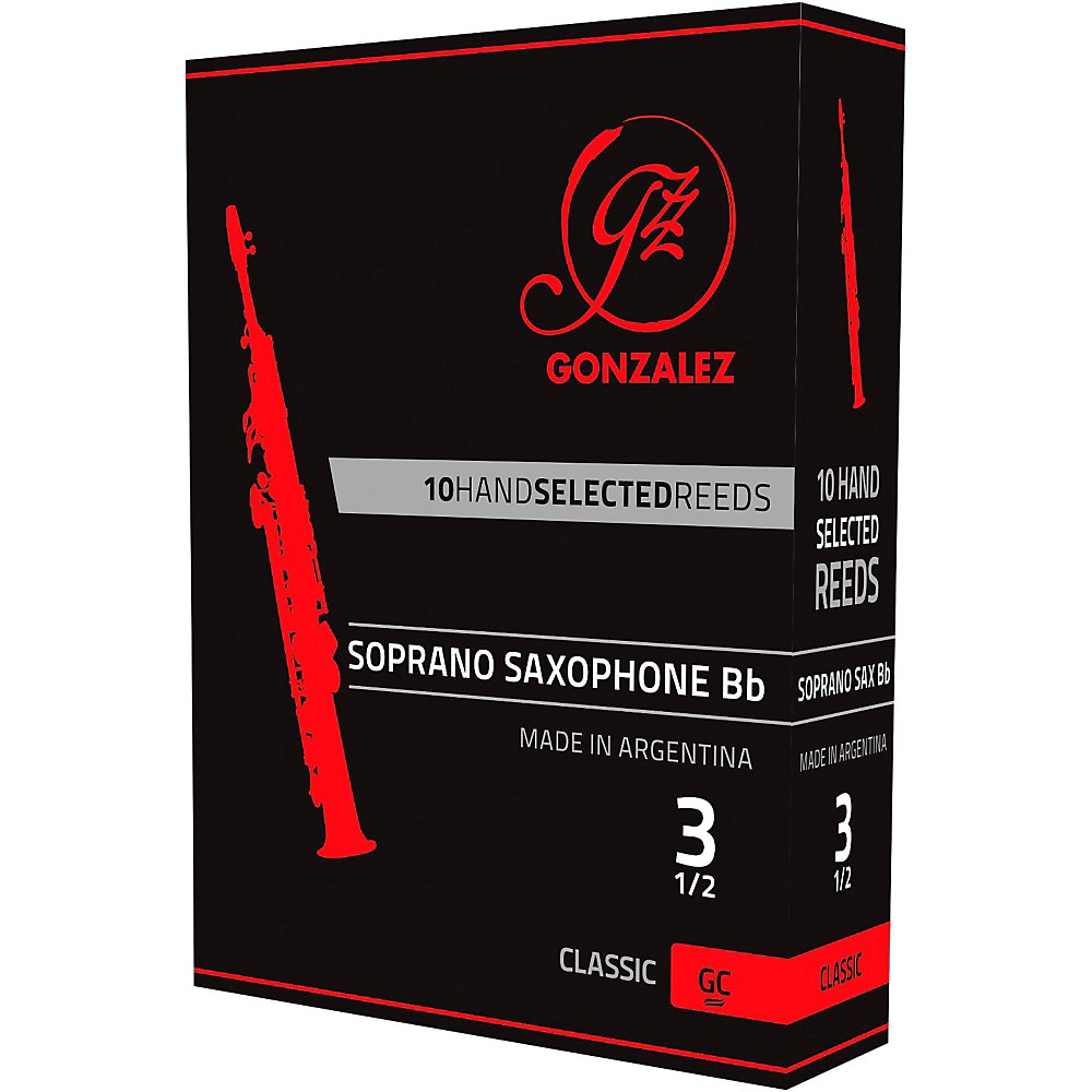 Gonzalez Classic Soprano Saxophone Reeds Box of 10 Strength 3.5