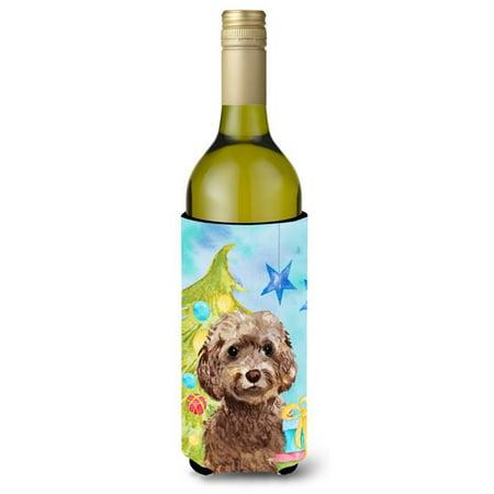 Brown Cockapoo Christmas Wine Bottle Beverge Insulator Hugger - image 1 de 1