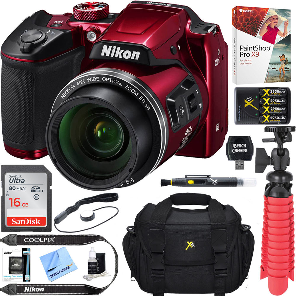 Nikon COOLPIX B500 16MP 40x Optical Zoom Digital Camera w/ WiFi - Red (Refurbished) + 16GB SDHC Accessory Bundle