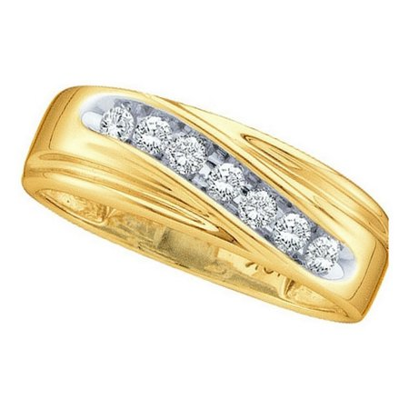 14kt Yellow Gold Mens Round Channel-set Diamond Wedding Anniversary Band Ring 1/4 Cttw ()