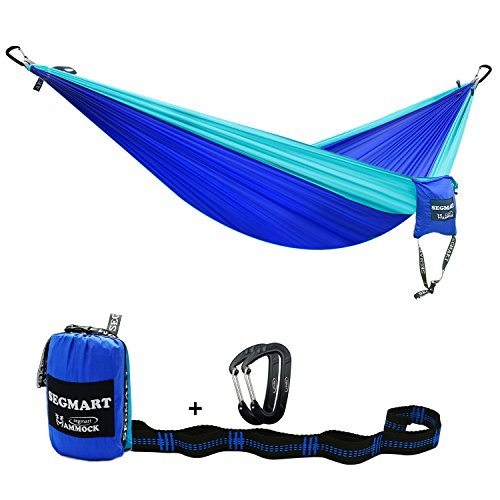 Camping Hammock- Easy Hanging Double Hammock with Tree Straps&Carabiners,Blue/Sky blue, 600lbs, I0096