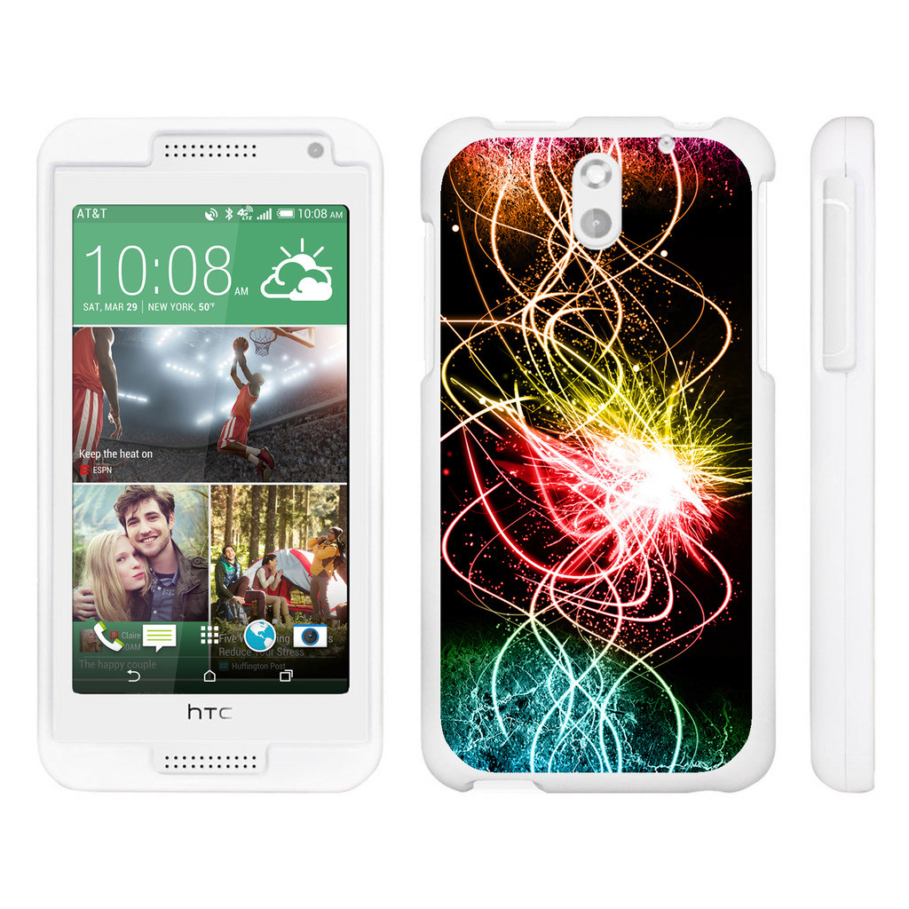 HTC Desire 610, [SNAP SHELL][White] Hard White Plastic Case with Non Slip Matte Coating with Custom Designs - Colorful Light Show