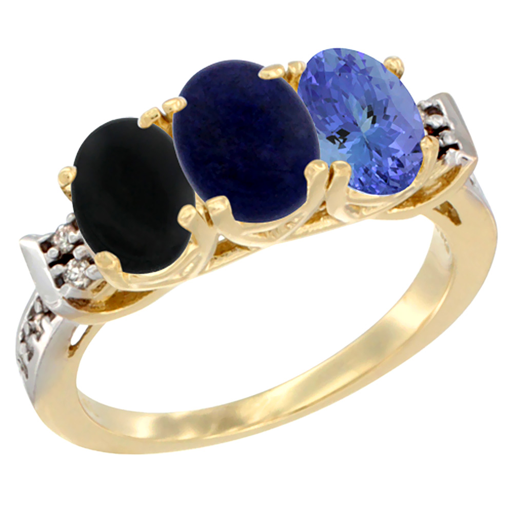 10K Yellow Gold Natural Black Onyx, Lapis & Tanzanite Ring 3-Stone Oval 7x5 mm Diamond Accent, sizes 5 10 by WorldJewels