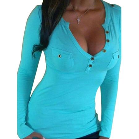 Plus Size 80s Fashion (Plus size Women's Fashion Long Sleeve Tops Blouse Girl Sexy Tee Sheath Bodycon Basic Slim Button T-shirt )