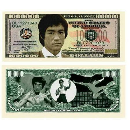 "25 Bruce Lee Million Dollar Bill with Bonus ""Thanks a Million"" Gift Card Set Bruce Smith Signed Bills"