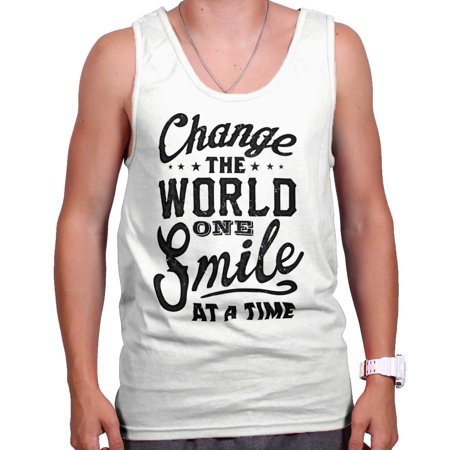 Change The World One Smile Cool Gift Cute Edgy Sarcastic Gym Tank Top (Top Gym Equipment Brands In The World)