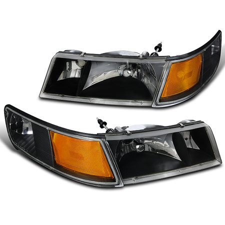 Spec-D Tuning For 1998-2002 Mercury Grand Marquis Clear Headlights + Corner Lights Signal Lamps Black 1998 1999 2000 2001 2002 (Left+Right)