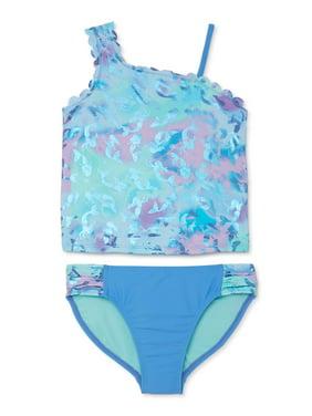 Wonder Nation Girls Mermaid Asymmetrical Tankini Swimsuit, Sizes 4-18 & Plus, UPF 50+