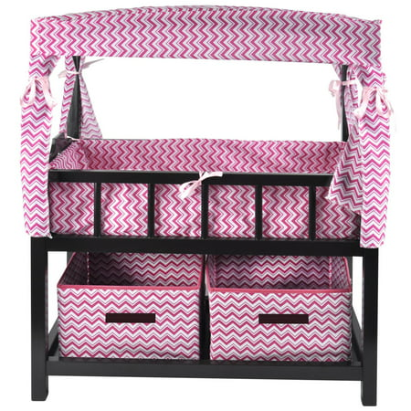 Naomi Home Kids Canopy Doll Crib with Baskets-Finish:Espresso ()