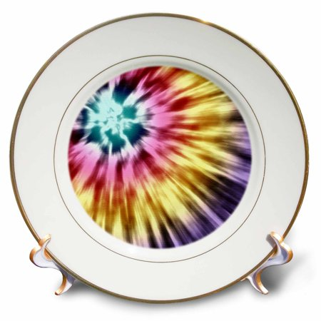 3dRose Tie Dye Purple starburst tie dye design in purple yellow and red, Porcelain Plate, 8-inch - Starburst Reds