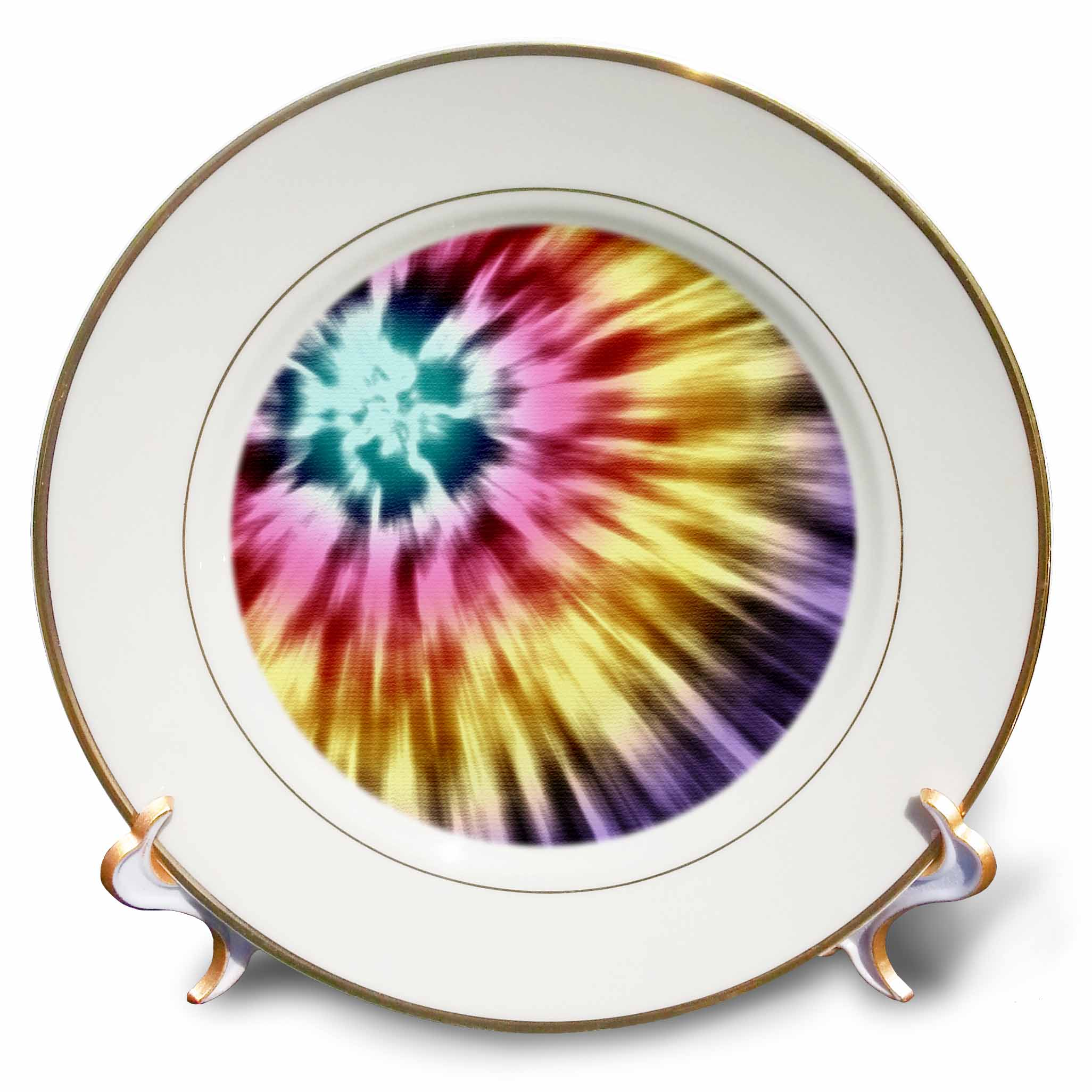 3dRose Tie Dye Purple starburst tie dye design in purple yellow and red, Porcelain Plate, 8-inch