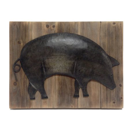 Wilco Home Farm To Table Metal Pig On Barnboard Wall Art