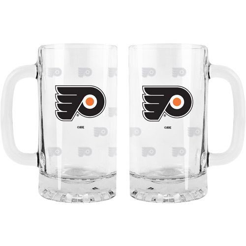 16oz NHL Philadelphia Flyers Satin Etch Glass Tankard Set, 2pk