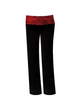 Pizzazz 9150ZG -BLKRED-YS 9150ZG Youth Roll-Down Waist Pants, Black with Red Zebra - Small