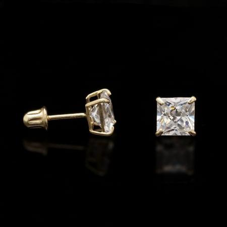 2Ct Created Diamond Princess Cut 14K Yellow Gold Stud Earrings Screw Back