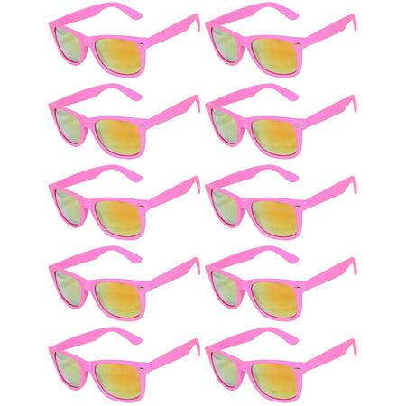 Retro Matte Pink 80's Vintage Party Sunglasses Purple Frame Yellow Lens OWL (10 Pack) ()