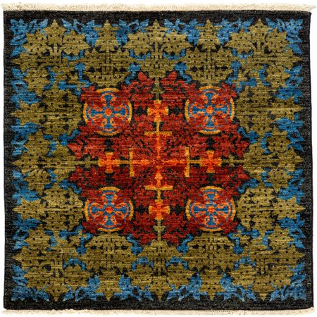 Darya rugs arts and crafts hand knotted yellow red area for Arts and crafts carpet