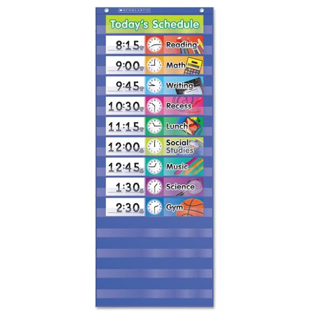 Scholastic Daily Schedule Pocket Chart, 13 x 33, Blue/Clear -SHS511498