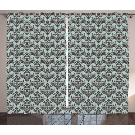 Damask   Curtains 2 Panels Set, Damask Shapes Motif Western Modular Leaves and Rayon Curving Lines Creative Floral Design, Living Room Bedroom Decor, Teal Brown, by
