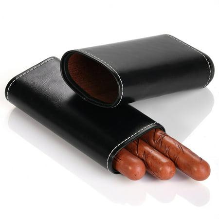 MEGACRA Cigar Case Portable Black Leather and Interior Cedar Lining 3 Cigar Carrying Travel Case