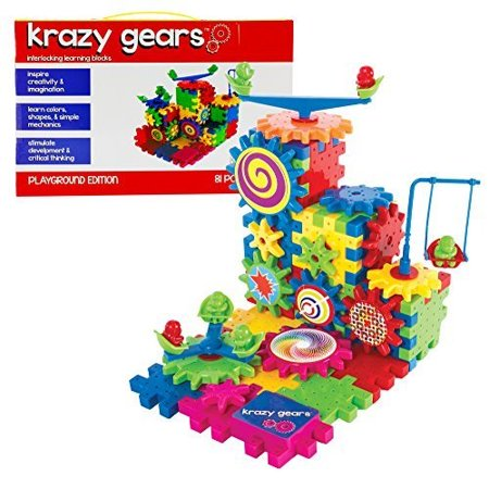 Krazy Gears Gear Building Toy Set - Interlocking Learning Blocks - Motorized Spinning Gears - 81 Piece Playground Edition Gear Set Toys