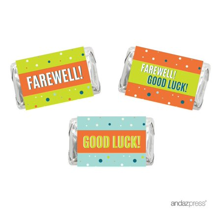 Farewell Retirement Party Decorations, Farewell! Good Luck!, Hershey's Miniatures Chocolates Labels Stickers, 18-Pack