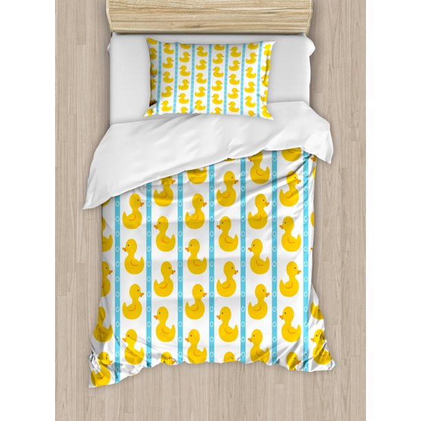 Rubber Duck Twin Size Duvet Cover Set, Rubber Duck Baby Bedding
