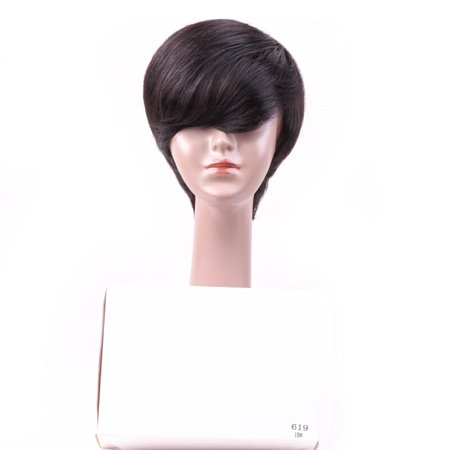 BEAUDIVA Brazilian Straight Human Hair Wigs Natural Color 130% Lace Wigs With Full End Short Bob Wigs 619 1B#