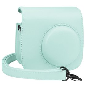 Spencer Protective Case for Fujifilm Instax Mini 8 8+ 9 Instant Camera Film Leather Carrying Bag PU Retro Case Cover, Ice Blue