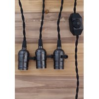 Fantado Triple Black Pearl Socket Vintage-Style Pendant Light Cord w/ Dimmer, 17 FT Twisted Black Cloth Cord by PaperLanternStore