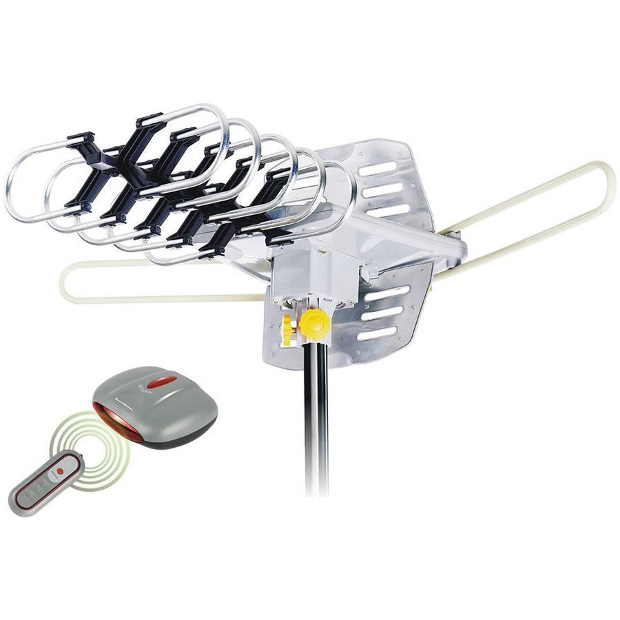 Outdoor Amplified Antenna, 150 Mile Range, 360-degree Rotation