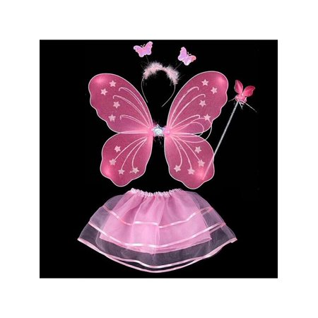 4Pcs/set Fairy Princess Kids Baby Girl Party Artistic Photo Costume Butterfly Wings Wand Headband Tutu Skirt Little Fairy Butterfly Wings