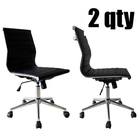 2xhome Set Of 2 Black Office Chair Ribbed Modern Ergonomic Mid Back Armless No