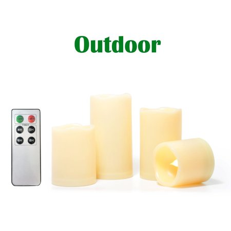 Candle Choice 4 Pack Indoor Outdoor Flameless Candles with Remote Timer Realistic Flickering Battery Operated LED Pillar Long Battery Life Melted Edge Party Wedding Birthday Home Holiday Décor Gifts ()