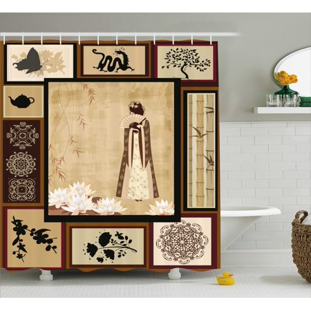 Japanese Shower Curtain, Girl in Traditional Dress and Cultural Patterns Ornaments Antique Eastern Collage, Fabric Bathroom Set with Hooks, Multicolor, by - Girls In Showers
