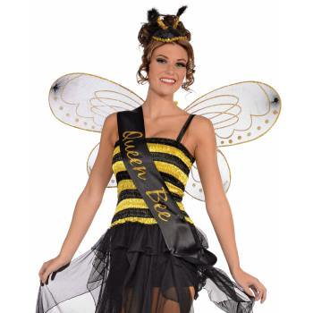 Queen honey bumble bee bug sash womens adult halloween costume accessory One Size (Adult Bee Costume)