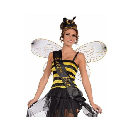 Queen honey bumble bee bug sash womens adult halloween costume accessory One Size](Women Bee Costume)