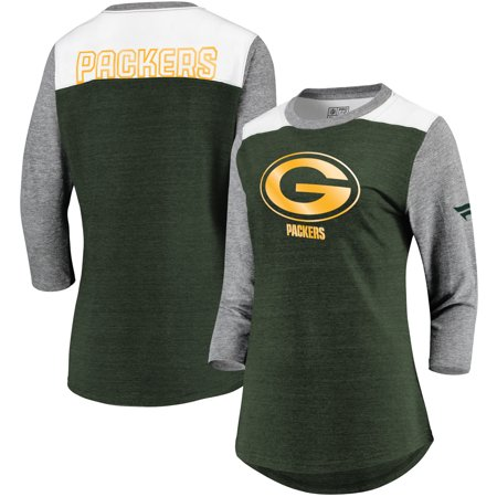 a2ff2404 Green Bay Packers NFL Pro Line by Fanatics Branded Women's Iconic 3/4  Sleeve T-Shirt - Green/Heathered Gray