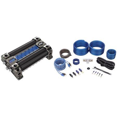 Boss CAP8 8 Farad Car Audio Capacitor With Digital Volt Meter + 4 AWG Amp Kit (Farad Capacitor Car Audio)
