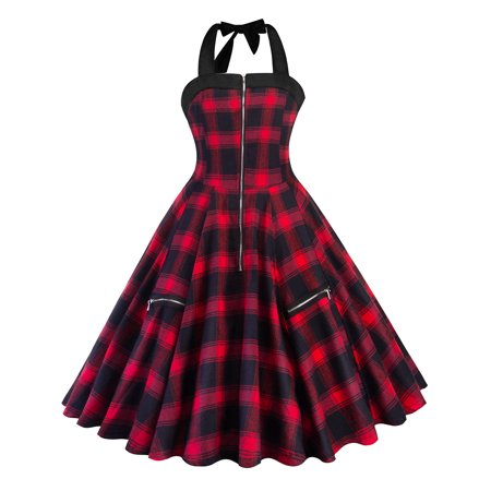 Plaid Dress for Women Halter Neck 50S 60S Vintage Retro Cocktail Prom Sleeveless Rockabilly Evening Checks Swing Dress